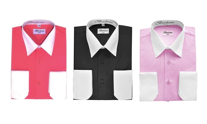 Berlioni Men's Two-Tone Dress Shirt: Berlioni Men's Two-Tone Dress Shirt