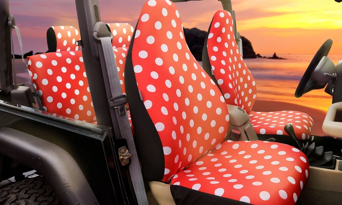 up to 65 off on polka dot car seat covers groupon goods. Black Bedroom Furniture Sets. Home Design Ideas