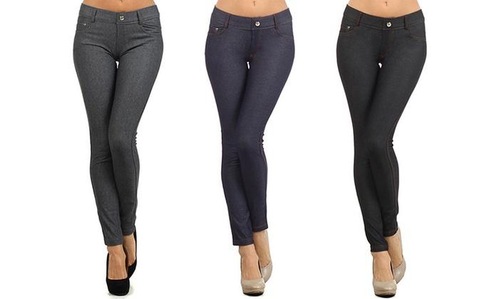 d02a7db13aea8e Women's 5-Pocket Slimming Jeggings (3-Pack) | Groupon