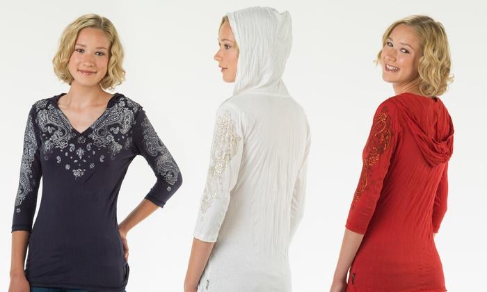 Women's Hooded Crinkle Top: Women's Hooded Crinkle Top