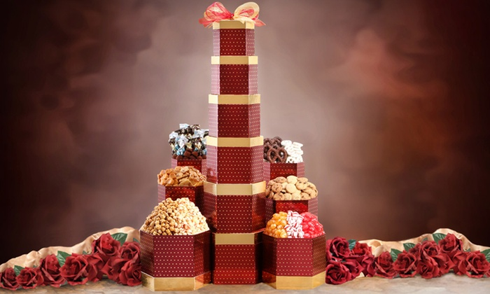 Sweet and Savory Tower Gift Basket: $49.99 for a Wine Country Gift Baskets Sweet and Savory Tower ($79.99 List Price). Free Shipping.