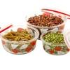 6-Piece Printed Glass Bowl Set with Airtight Lids