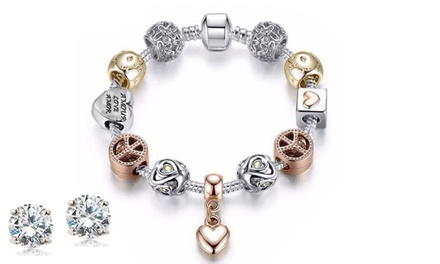 Mina Bloom Crystal Heart Charm Bracelet with 2.00 CTW Stud Earrings Made with Swarovski Elements (3-Piece)