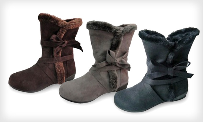 Carrini Kids' Vegan-Suede Boots: $19 for Carrini Kids' Vegan-Suede Boots in Black, Brown or Gray in Sizes 10–4 ($40 List Price). Free Shipping & Returns.