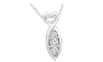 1/2 CTTW 3-Stone Diamond Heart Pendant in 14K White Gold by Bliss Diamond