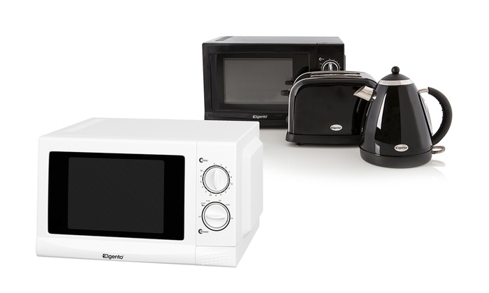 Elgento 3 piece kitchen set groupon for Kitchen set kettle toaster microwave