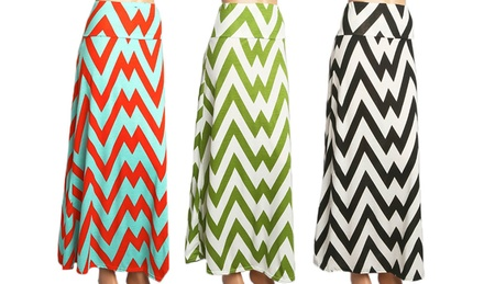 Women's Fashion Chevron Maxi Skirt