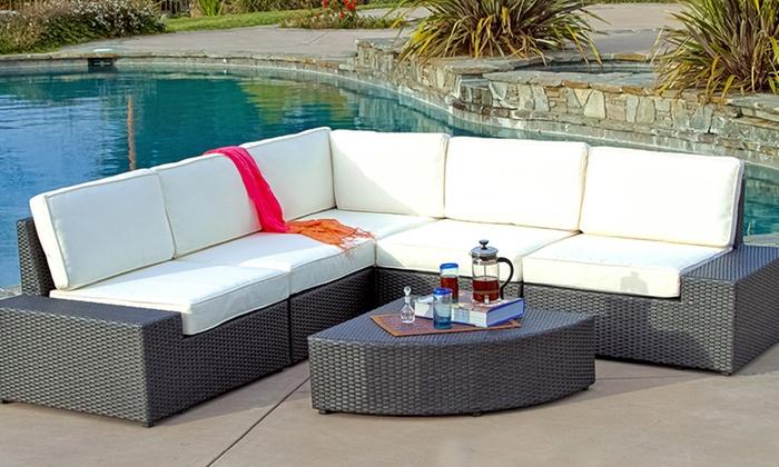 Bodega outdoor grey wicker sofa set groupon for Outdoor furniture groupon
