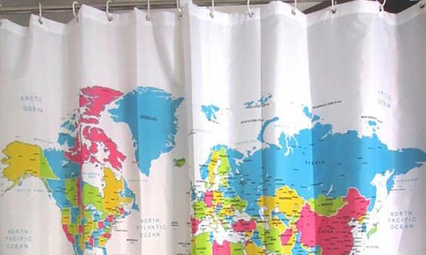 Rideaux de douche 180x180cm groupon - Rideau de douche carte du monde ...