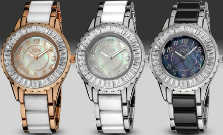 Bürgi Women's Ceramic and Crystal Bracelet Watch