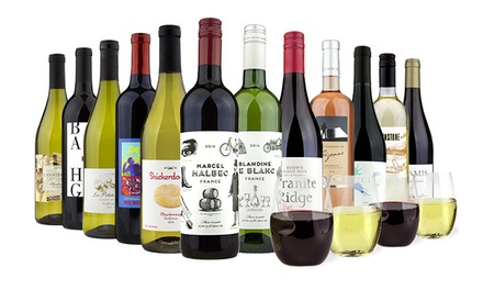 6 or 12 Bottles of Wine with Two or Four govino Wine Glasses from Barclays Wine (Up to 80% Off)