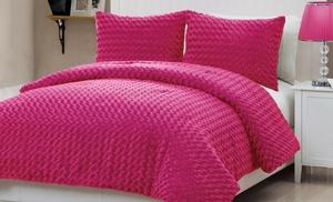 Rose Fur Plush Comforter Set Groupon Goods