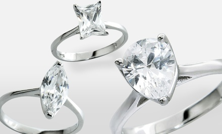 Sterling Silver and Cubic-Zirconia Solitaire Rings. Multiple Styles Available.
