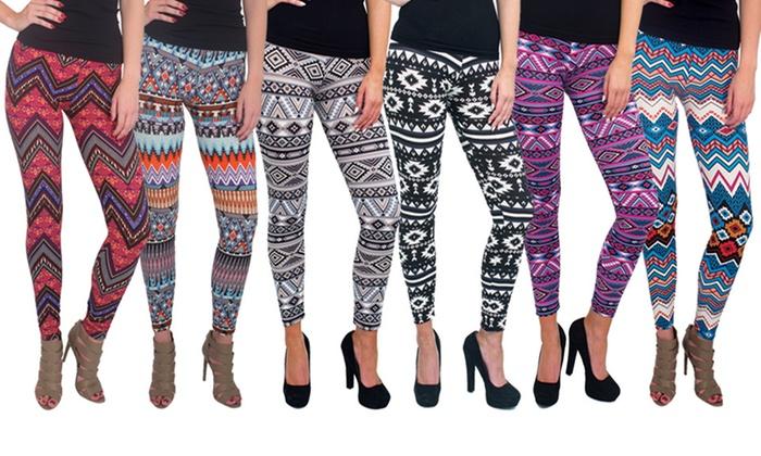 Women's Soft Printed Leggings (6-Pack): Women's Soft Printed Leggings (6-Pack) (Size L/XL)