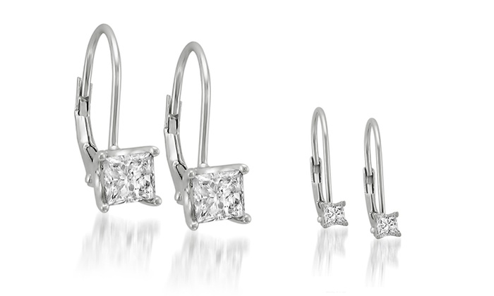 Diamond and 14-Karat White Gold Leverback Earrings: Diamond and 14-Karat White Gold Leverback Earrings. Multiple Styles Available. Free Shipping and Returns.