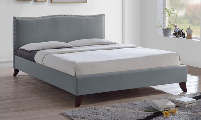 Upholstered fabric platform beds groupon for Beds groupon