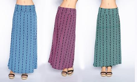 Chevron-Print Foldover Maxi Skirt