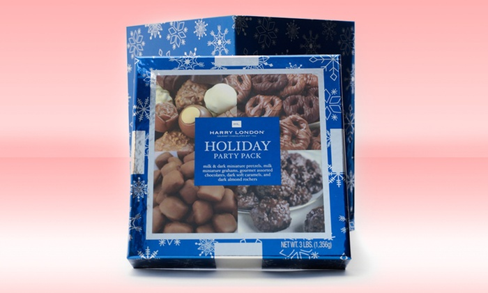 Harry London Holiday Party Pack: Harry London 3 Lb. Holiday Party Pack with Chocolate-Covered Pretzels, Caramels, and More