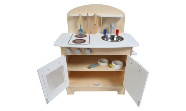 Kids 39 wooden kitchen play set groupon for Kitchen set nz