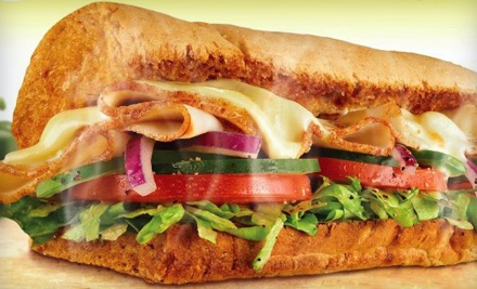Meal for Two with Footlong Subs, Chips, and Drinks, or Five 6-Inch Subs at Subway (Up to 53% Off)