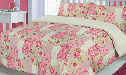 Reversible Patchwork Duvet Set in Choice of Size and Colour from £8.99