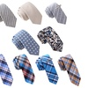 Skinny Tie Madness Bundle of 9 Skinny Ties and 2 Tie Clips (11 Piece)