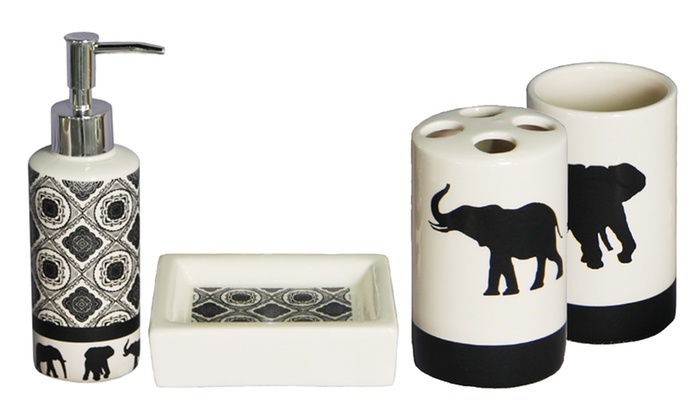 Merveilleux Elephant Parade 4 Piece Ceramic Bath Accessories Set ...