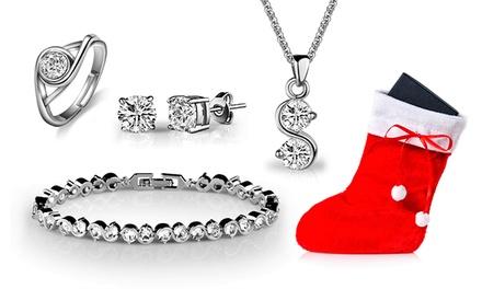 Conjunto de joias com Swaroski Elements apresentado em meia de Natal desde 19,99€