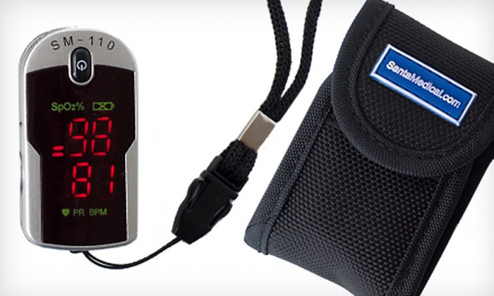 Fingertip Pulse Rate and Oxygen Level Monitor: $25 for a Santa Medical Finger Pulse Oximeter with a Carrying Case and Neck/Wrist Cord ($199 List Price)