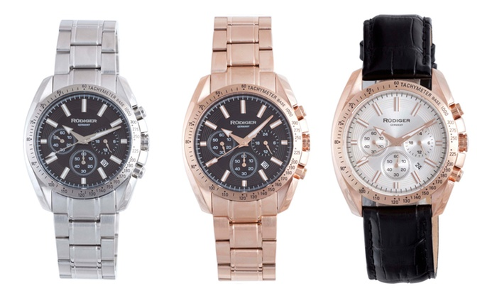 Rüdiger Men's Dresden Watches: Rüdiger Men's Dresden Calfskin or Stainless Steel Watches from $47.99–$89.99. Multiple Styles Available.