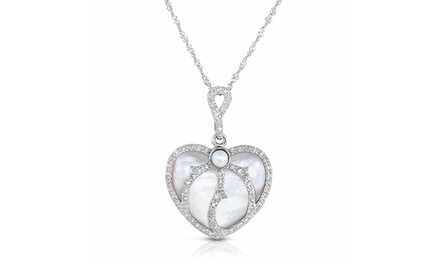 3/4 CTTW Diamond and Mother-of-Pearl Heart Pendant