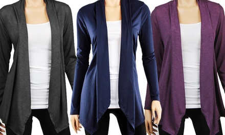 Women's Hacci Draped Basic Cardigan