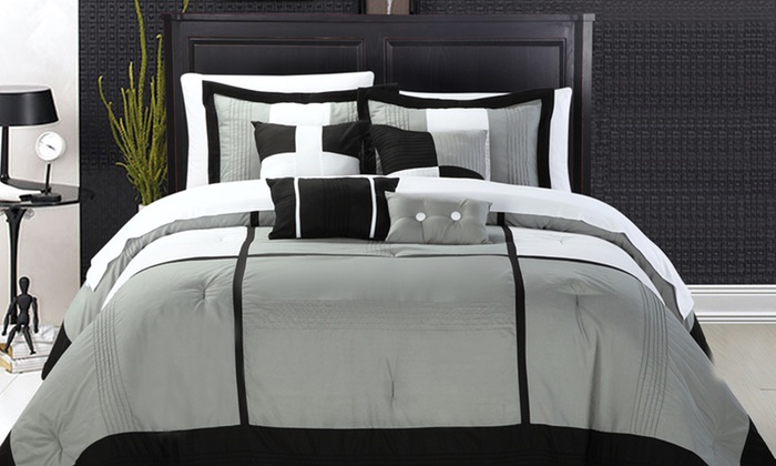 Chic Home 8-Piece Comforter Set: Chic Home Dorchester 8-Piece Comforter Set in Black, Blue/Brown, Plum, or Yellow. Free Shipping and Returns.