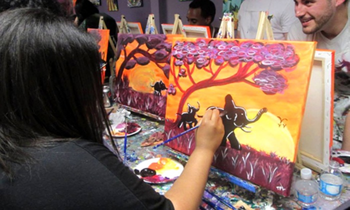 The Urban Art Bar - Boston: Evening of Painting with Supplies for One, Two, or Four at The Urban Art Bar (Up to 62% Off)
