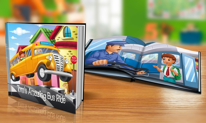 "Dinkleboo: $9 or $14 for ""My Amazing Bus Ride"" Personalized Softcover or Hardcover Children's Book from Dinkleboo (Up to 65% Off)"