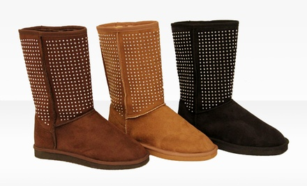 Silver Dew Jessica Studded Boots. Multiple Colors Available.