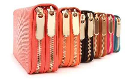 1 ou 2 portefeuilles en cuir pour femme à double fermeture éclair, coloris au choix dès 14,99€