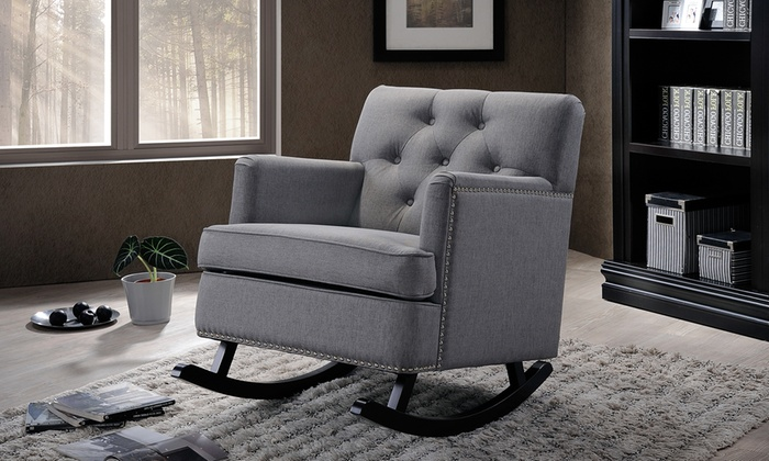 Upholstered Button Tufted Rocking Chair: Upholstered Button Tufted Rocking  Chair ...