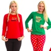 Women's Holiday Pajamas Gift Set with Plus Size Options (2-Piece)
