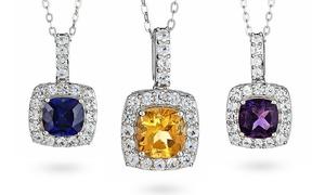 Gemstone And White Sapphire Pendant