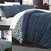 Natalie Reversible Pleated and Ruffled Duvet Set (3-Piece)