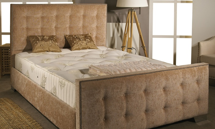 best service 0ec6c 587c8 Hand Crafted Fabric Bed Frame | Groupon Goods
