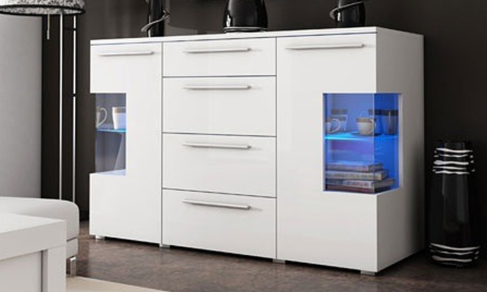 Buffet laqu led blanc noir ou gris groupon shopping - Buffet blanc laque led ...