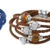5 Tier Crystal And Murano Bead Genuine Leather Braided Bracelet