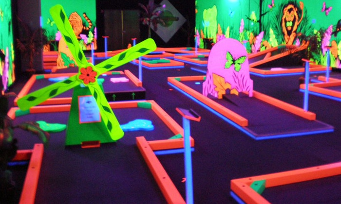 Glowgolf - Multiple Locations: Three Games of Mini Golf for Two, Four, or Six, or Mini Golf and Laser Maze for Two at Glowgolf (Up to 48% Off)