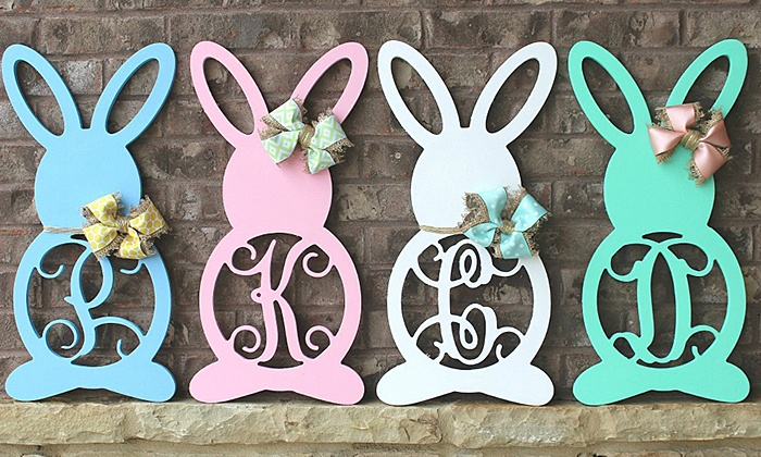 Whimsy Timber: Unfinished or Finished Wooden Monogrammed Bunnies from Whimsy Timber (Up to 50% Off)
