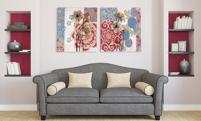 Handcrafted Floral Metal Art | Groupon Goods