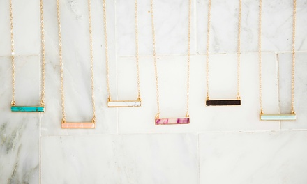 Semiprecious Stone Bar Necklace