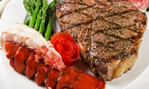 Portofino Ristorante: Surf 'n' Turf Dinner with Wine for Two or Four at Portofino Restaurant (Up to 58% Off)