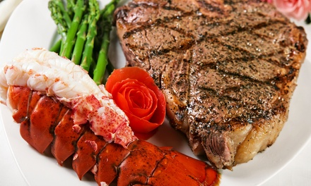 Surf 'n' Turf Dinner with Wine for Two or Four at Portofino Restaurant (Up to 58% Off)